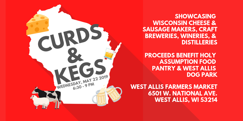Curds and Kegs Graphic Showing Wisconsin Map and overlay text reading Curds and Kegs
