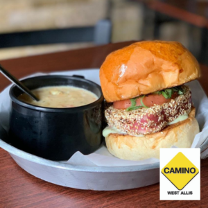 Photograph of tuna burger and soup from Camino
